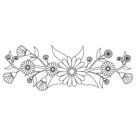 Illustration pour Beautiful ornamental flowers icon vector illustration graphic design - image libre de droit