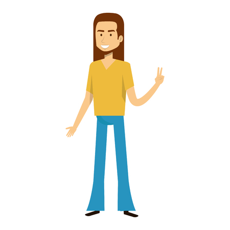 Illustration pour man character hippy lifestyle vector illustration design - image libre de droit
