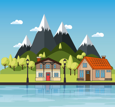 Illustration for Country houses with river and mountains landscape vector illustration - Royalty Free Image