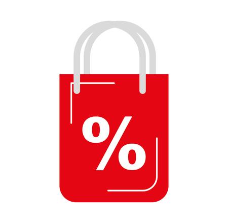 Ilustración de shopping bag with percent symbol vector illustration design - Imagen libre de derechos