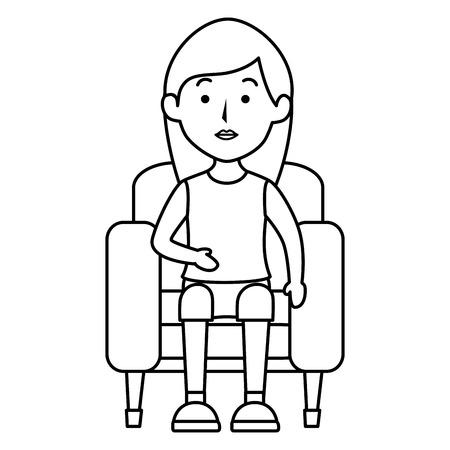 Ilustración de Young woman sitting on sofa vector illustration design - Imagen libre de derechos