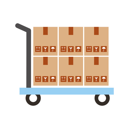 Illustration for cart with boxes carton delivery icon vector illustration design - Royalty Free Image
