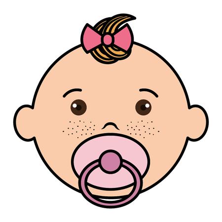 Ilustración de Baby face happy icon vector illustration design flat - Imagen libre de derechos