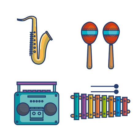 Illustration pour Colorful musical instruments over white background vector illustration - image libre de droit