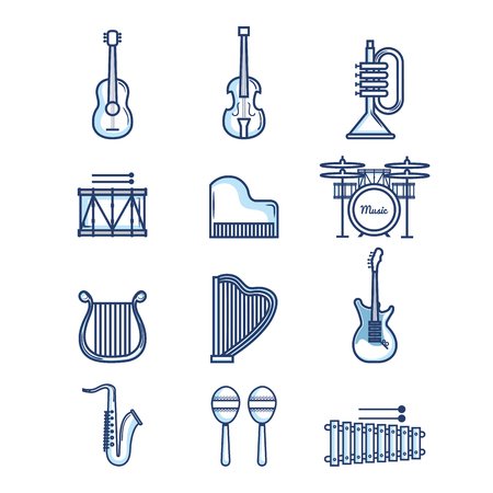 Illustration pour Hand drawn musical instruments over white background vector illustration - image libre de droit