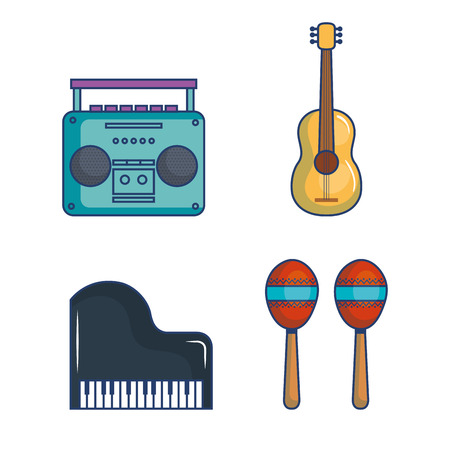 Illustration pour Musical related objects over white background vector illustration - image libre de droit