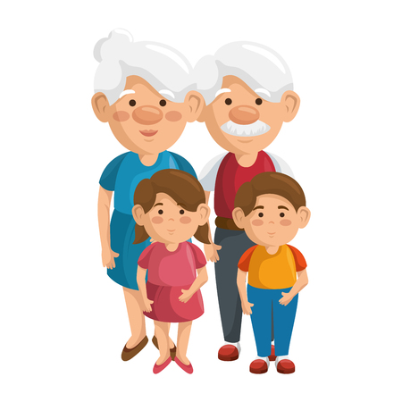 Ilustración de couple of grandparents and kids icon over white background colorful design vector illustration - Imagen libre de derechos
