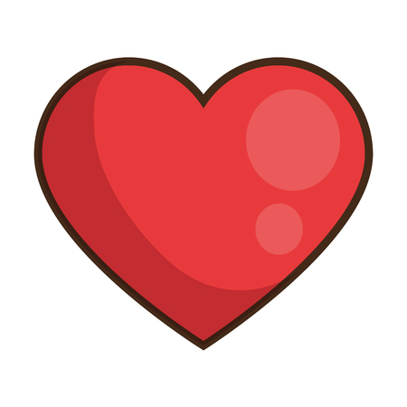 Ilustración de red heart icon over white background colorful design vector illustration - Imagen libre de derechos