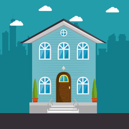 Ilustración de colorful cottage flat residential houses vector illustration graphic design - Imagen libre de derechos