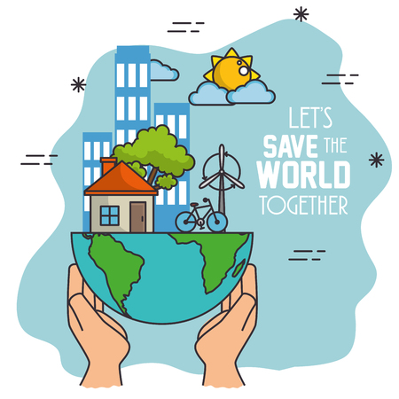Ilustración de Green Eco concept background and save the world concept design vector illustration graphic - Imagen libre de derechos