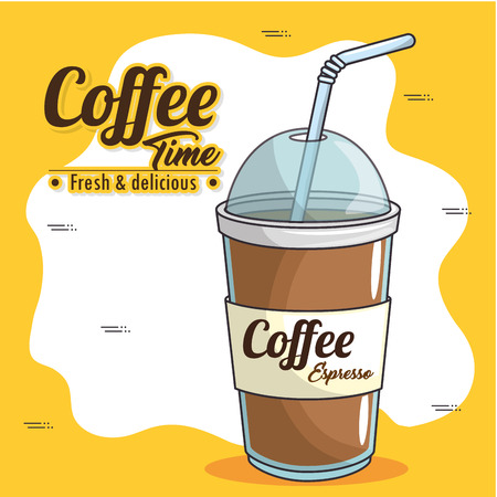 Ilustración de frappe and cold drink coffee vector illustration graphic design - Imagen libre de derechos
