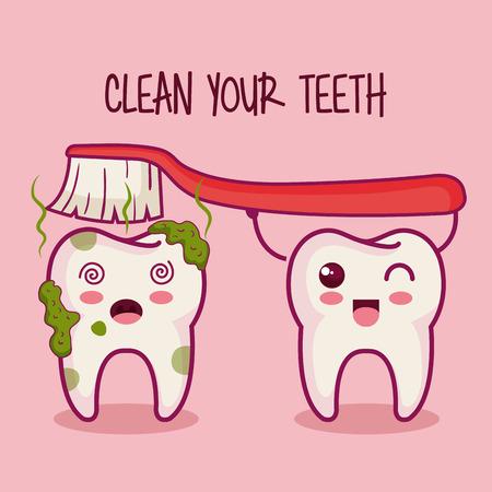 Ilustración de teeth and brush with clean your teeth sign over pink background vector illustration - Imagen libre de derechos