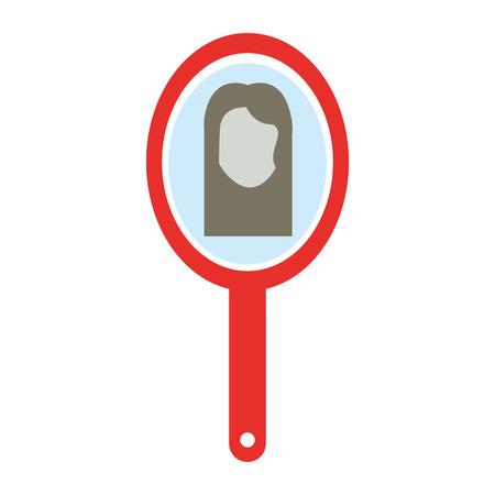 Ilustración de barber mirror with woman reflection vector illustration design - Imagen libre de derechos