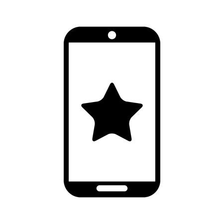 Ilustración de smartphone device with star isolated icon vector illustration design - Imagen libre de derechos