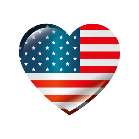 Illustration for usa country flag in heart shape icon over white background colorful design vector illustration - Royalty Free Image