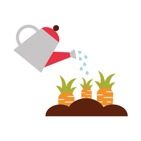 Illustration for farming sprinkler with carrot cultivation vector illustration design - Royalty Free Image