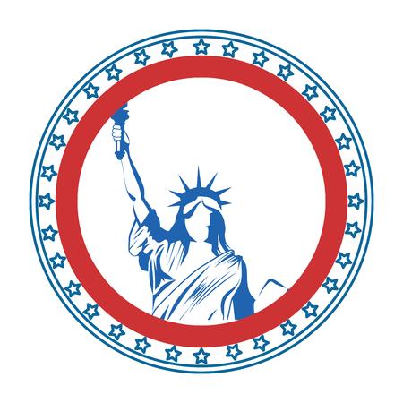 Illustration pour button with statue of liberty icon over white background vector illustration - image libre de droit