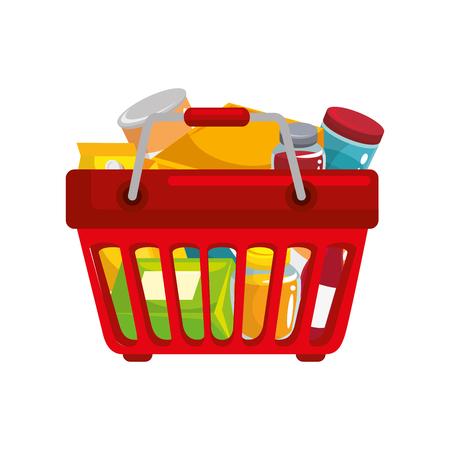 Ilustración de shopping basket with food icon over white background colorful design vector illustration - Imagen libre de derechos