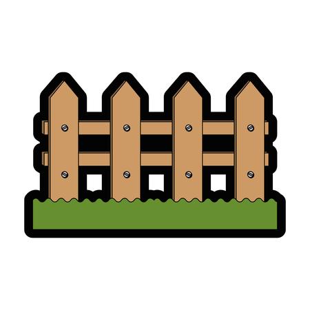 Illustration pour wooden fence icon over white background colorful design vector illustration - image libre de droit