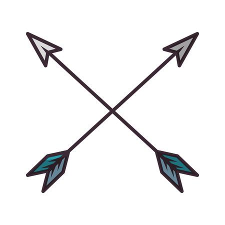 Ilustración de Bow arrows crossed icon vector illustration graphic design - Imagen libre de derechos