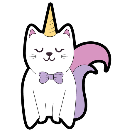 Illustration for Cute cat cartoon icon vector illustration graphic design - Royalty Free Image