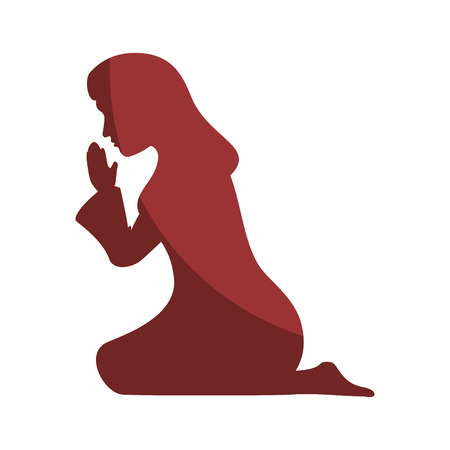 Illustration pour silhouette of virgin mary icon over white background vector illustration - image libre de droit