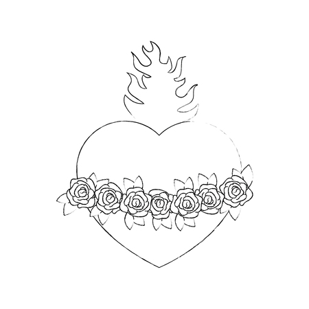 Illustration pour sacred heart icon over white background vector illustration - image libre de droit