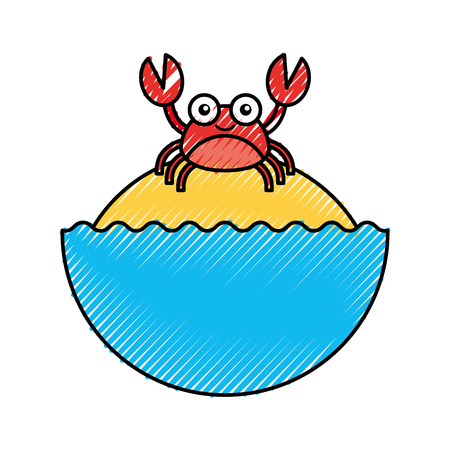 Illustration pour cute crab sealife character vector illustration design - image libre de droit