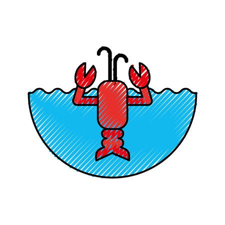 Illustration pour cute lobster sealife character vector illustration design - image libre de droit