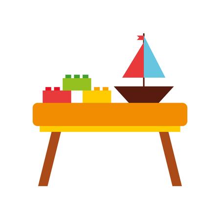Ilustración de table wooden with toys vector illustration design - Imagen libre de derechos
