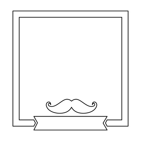 Illustrazione per decorative frame with mustache icon over white background vector illustration - Immagini Royalty Free
