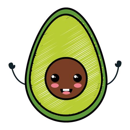Ilustración de avocado fresh character vector illustration design - Imagen libre de derechos