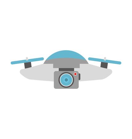 Illustration pour drone flying technology with camera vector illustration design - image libre de droit