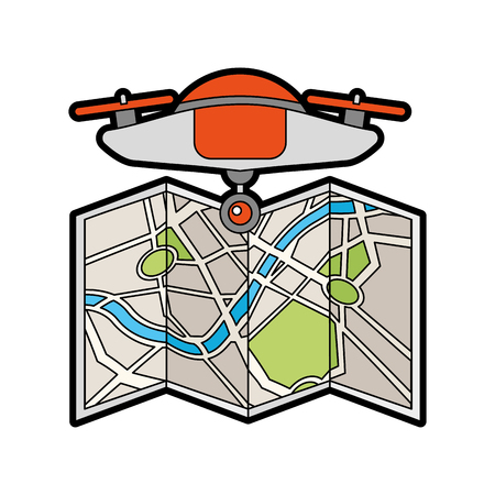 Illustrazione per drone flying technology with paper map vector illustration design - Immagini Royalty Free