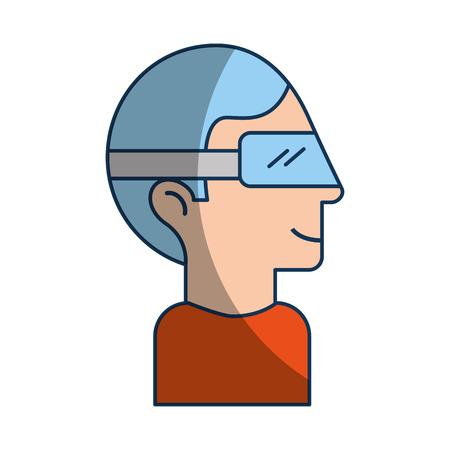 Illustration pour Man with virtual reality glasses vector illustration design - image libre de droit