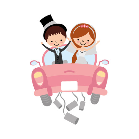 Photo pour Married couple in car avatar characters vector illustration design - image libre de droit