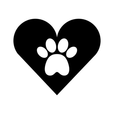 Ilustración de heart with paw footprint mascot isolated icon vector illustration design - Imagen libre de derechos