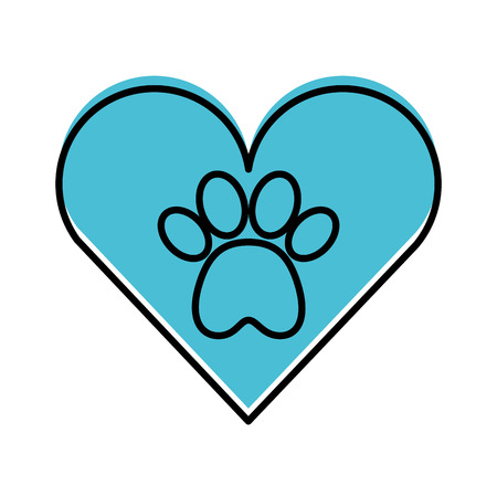 Ilustración de heart with paw footprint mascot isolated icon vector illustration design - Imagen libre de derechos