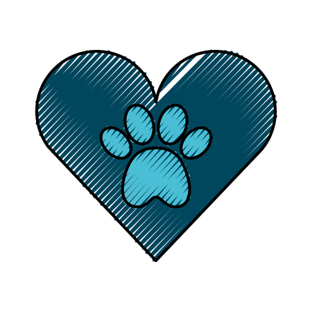 Illustration pour heart with paw footprint mascot isolated icon vector illustration design - image libre de droit