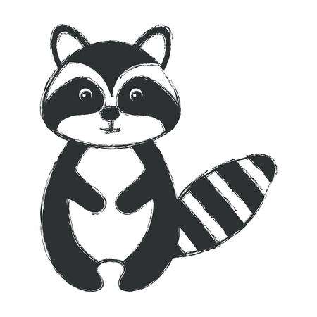 cute and tender raccoon vector illustration design