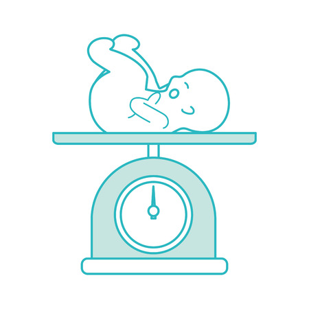 Illustration pour scale with baby isolated icon vector illustration design - image libre de droit