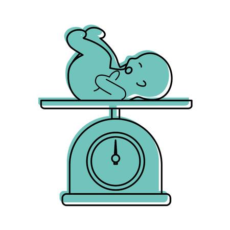 Ilustración de scale with baby isolated icon vector illustration design - Imagen libre de derechos