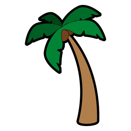 Illustration for tropical palm icon over white background vector illustration - Royalty Free Image