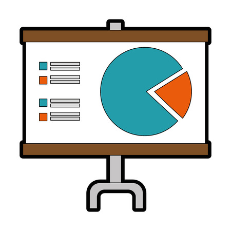 Ilustración de Presentation board with statistical graphs icon over white background vector illustration - Imagen libre de derechos