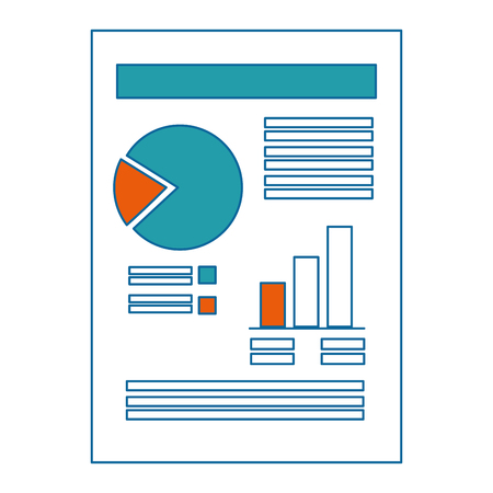 Ilustración de document with Statistical graphs icon over white background vector illustration - Imagen libre de derechos