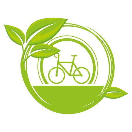 Ilustración de emblem with bicycle and leaves icon over white background vector illustration - Imagen libre de derechos