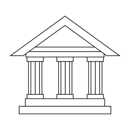 Illustration pour bank building icon over white background vector illustration - image libre de droit