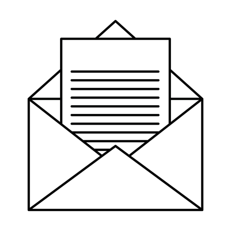 Ilustración de envelope and letter page icon over white background vector illustration - Imagen libre de derechos