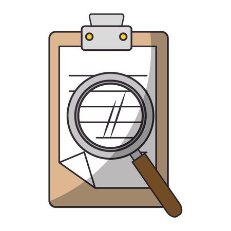 Ilustración de report table and magnifying glass icon over white background vector illustration - Imagen libre de derechos