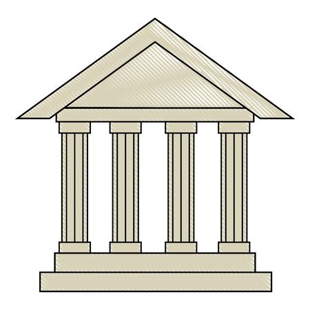Ilustración de bank building icon over white background vector illustration - Imagen libre de derechos